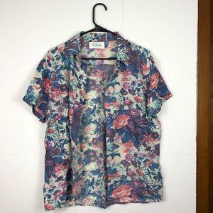 Tops - Vintage 100% silk floral button down Sz 8/10